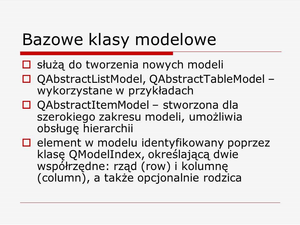Predefiniowane modele danych QStringListModel QStandardItemModel QDirModel QSqlQueryModel QSqlTableModel QSqlRelationalTableModel QSortFilterProxyModel