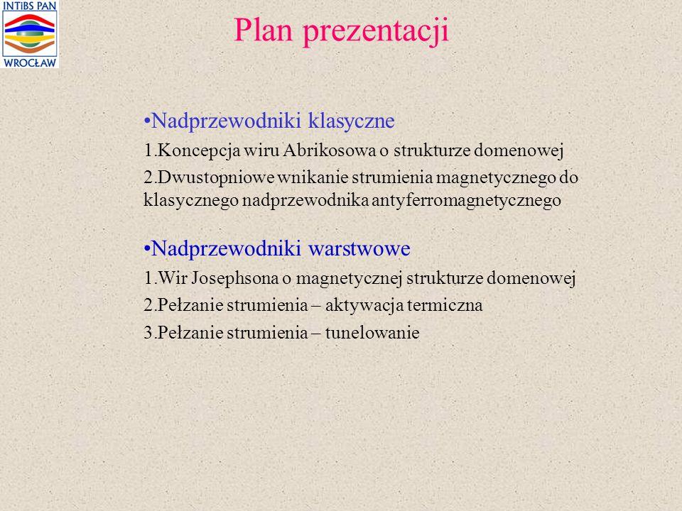 Plan prezentacji Nadprzewodniki klasyczne 1.Koncepcja wiru Abrikosowa o strukturze domenowej 2.Dwustopniowe wnikanie strumienia magnetycznego do klasy