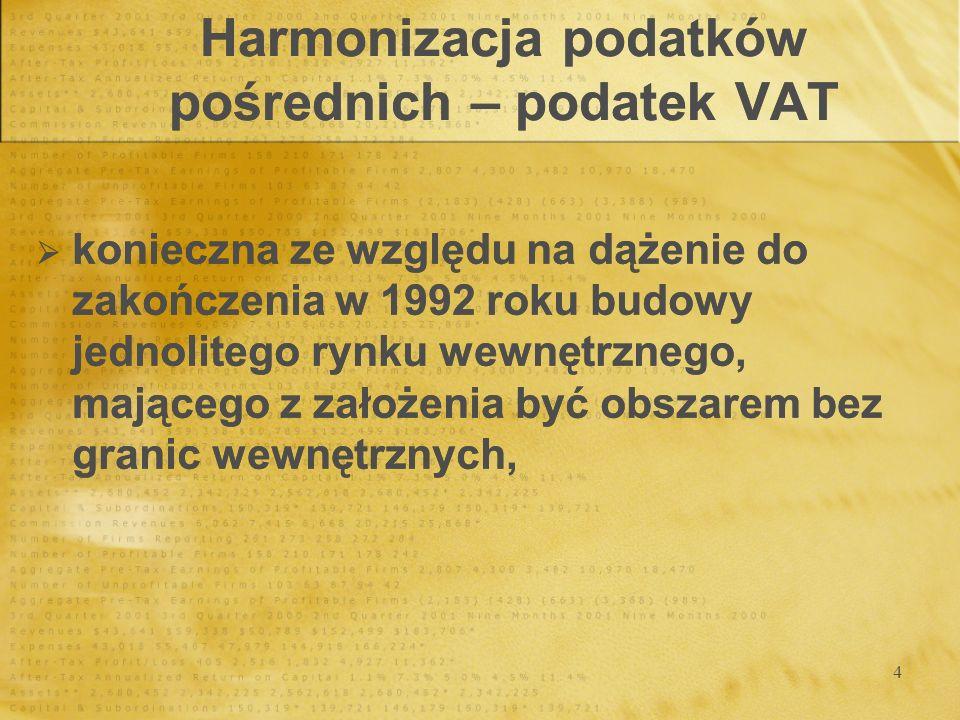 5 Harmonizacja podatków pośrednich – podatek VAT 2 zasady opodatkowania: w kraju pochodzenia w kraju przeznaczenia 2 zasady opodatkowania: w kraju pochodzenia w kraju przeznaczenia