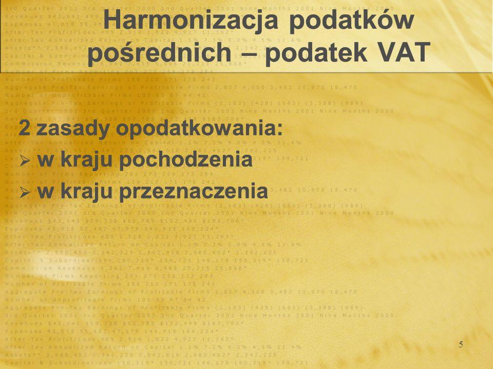 16 Harmonizacja podatków pośrednich - akcyza Proces harmonizacji: od 1993 roku obowiązuje wspólny system opodatkowania akcyzą, dotyczy on 3 grup produktów, Proces harmonizacji: od 1993 roku obowiązuje wspólny system opodatkowania akcyzą, dotyczy on 3 grup produktów,