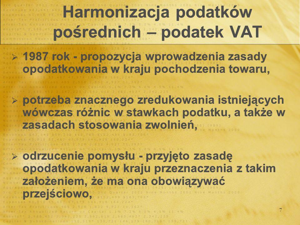 18 Harmonizacja podatków bezpośrednich Alternatywa dla harmonizacji: stworzenie pewnych zasad honorowych, Alternatywa dla harmonizacji: stworzenie pewnych zasad honorowych,
