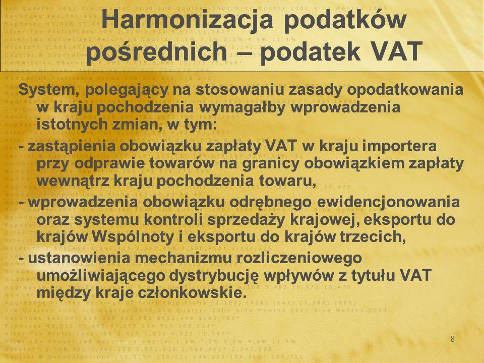 9 Harmonizacja podatków pośrednich – podatek VAT Stawki podatku VAT Stawki podatku VAT Stawki normalneStawki zredukowaneStawki super zredukowane