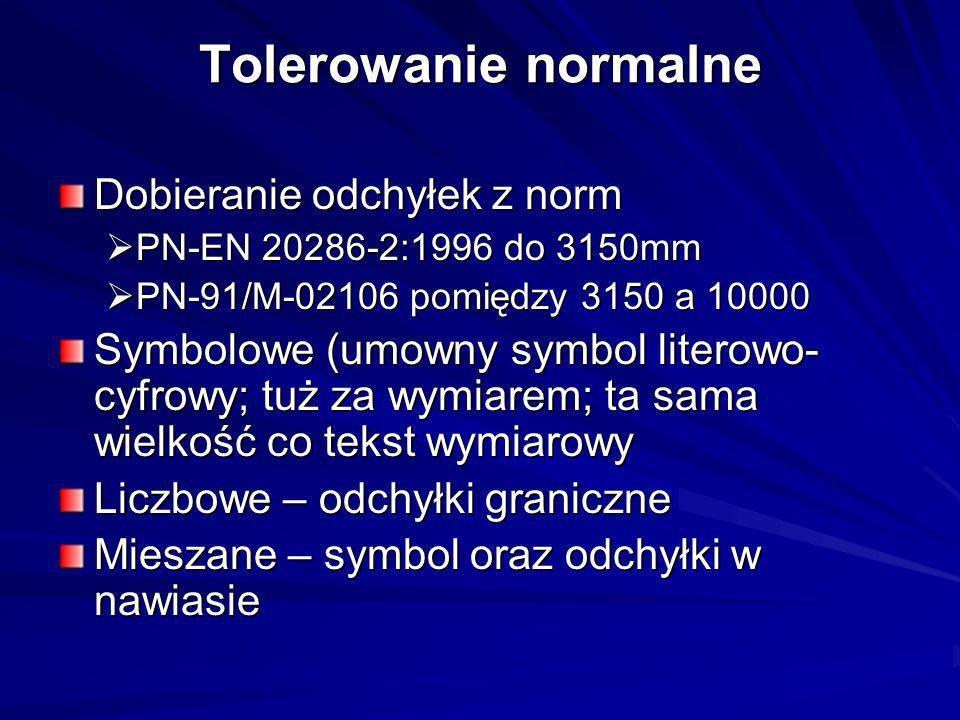 Tolerowanie normalne Dobieranie odchyłek z norm PN-EN 20286-2:1996 do 3150mm PN-EN 20286-2:1996 do 3150mm PN-91/M-02106 pomiędzy 3150 a 10000 PN-91/M-