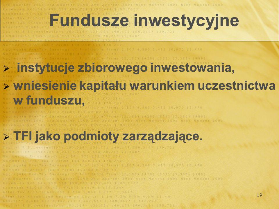 19 Fundusze inwestycyjne instytucje zbiorowego inwestowania, wniesienie kapitału warunkiem uczestnictwa w funduszu, TFI jako podmioty zarządzające. in