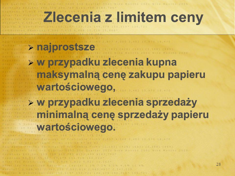 28 Zlecenia z limitem ceny najprostsze w przypadku zlecenia kupna maksymalną cenę zakupu papieru wartościowego, w przypadku zlecenia sprzedaży minimalną cenę sprzedaży papieru wartościowego.
