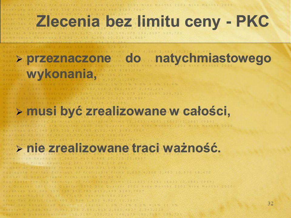 32 Zlecenia bez limitu ceny - PKC przeznaczone do natychmiastowego wykonania, musi być zrealizowane w całości, nie zrealizowane traci ważność. przezna