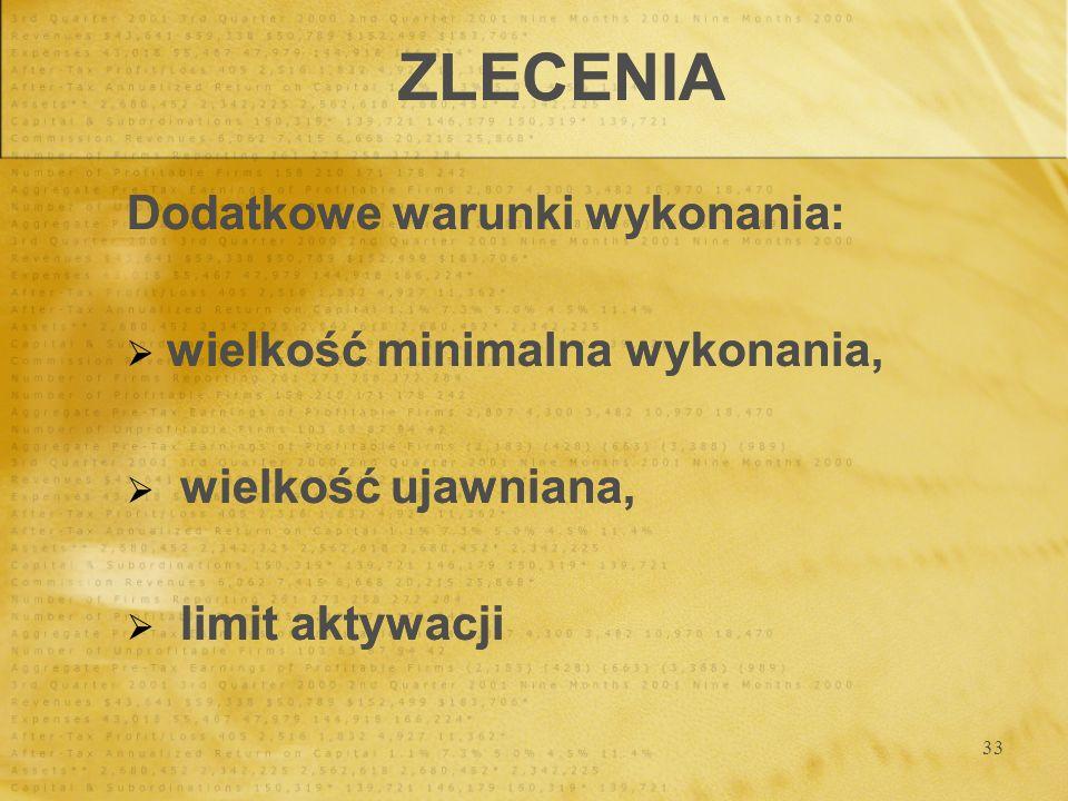 33 ZLECENIA Dodatkowe warunki wykonania: wielkość minimalna wykonania, wielkość ujawniana, limit aktywacji Dodatkowe warunki wykonania: wielkość minim