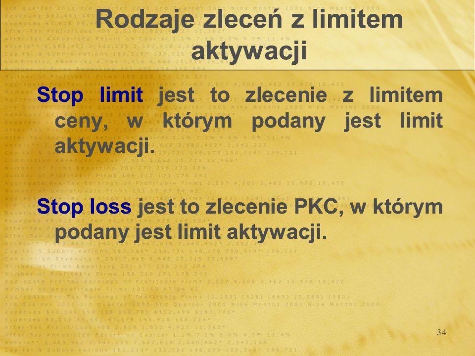 34 Rodzaje zleceń z limitem aktywacji Stop limit jest to zlecenie z limitem ceny, w którym podany jest limit aktywacji. Stop loss jest to zlecenie PKC