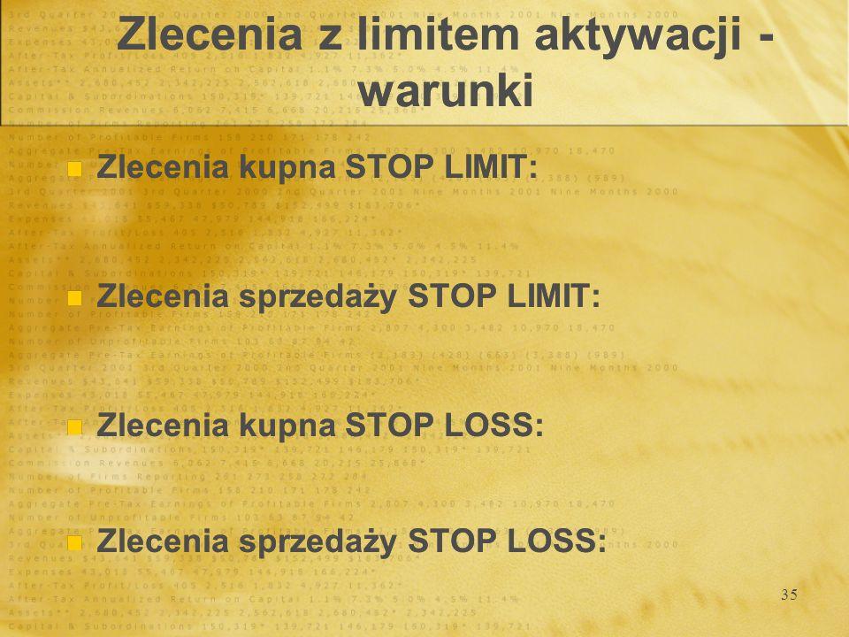 35 Zlecenia z limitem aktywacji - warunki Zlecenia kupna STOP LIMIT: Zlecenia sprzedaży STOP LIMIT: Zlecenia kupna STOP LOSS: Zlecenia sprzedaży STOP