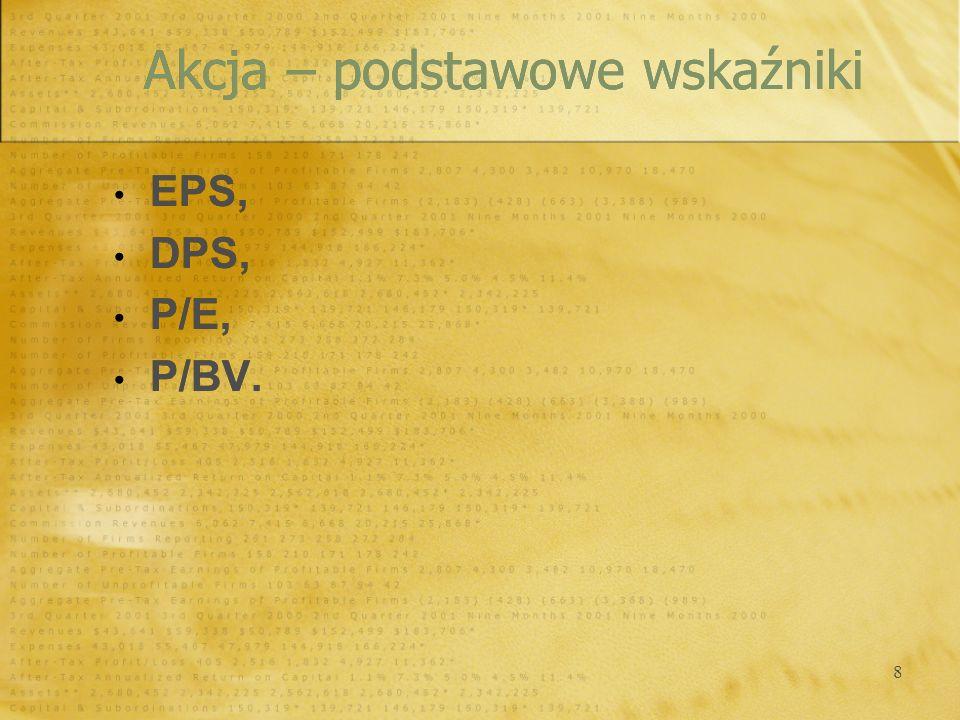 8 Akcja – podstawowe wskaźniki EPS, DPS, P/E, P/BV. EPS, DPS, P/E, P/BV.