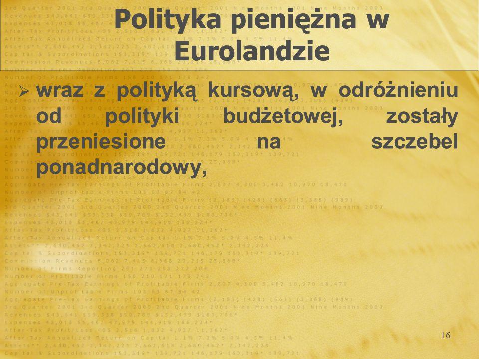 16 wraz z polityką kursową, w odróżnieniu od polityki budżetowej, zostały przeniesione na szczebel ponadnarodowy, wraz z polityką kursową, w odróżnien