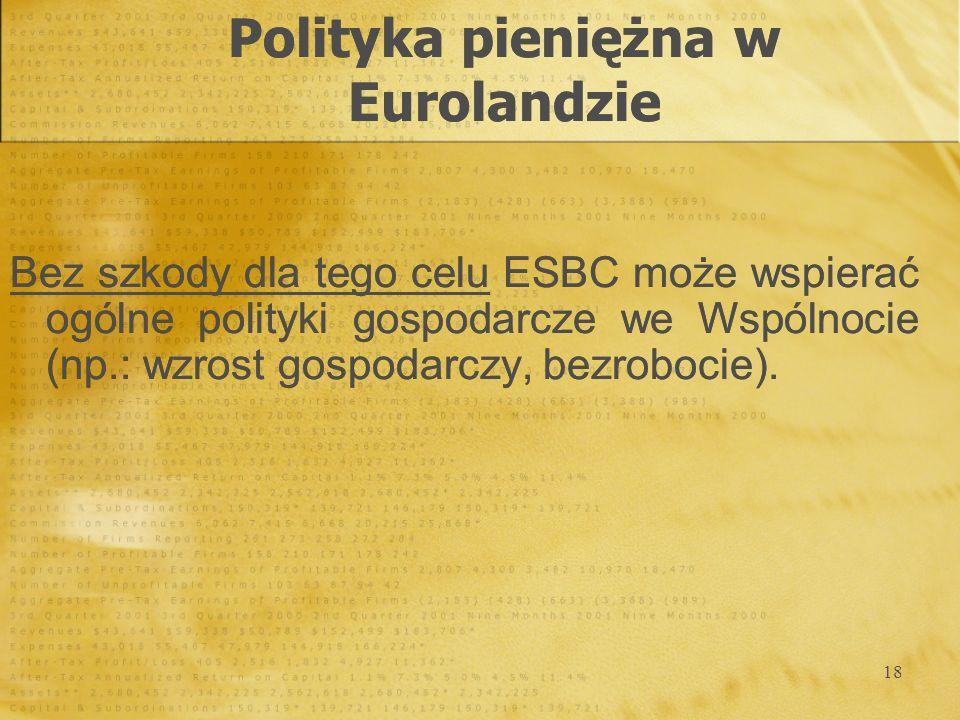 18 Bez szkody dla tego celu ESBC może wspierać ogólne polityki gospodarcze we Wspólnocie (np.: wzrost gospodarczy, bezrobocie). Bez szkody dla tego ce