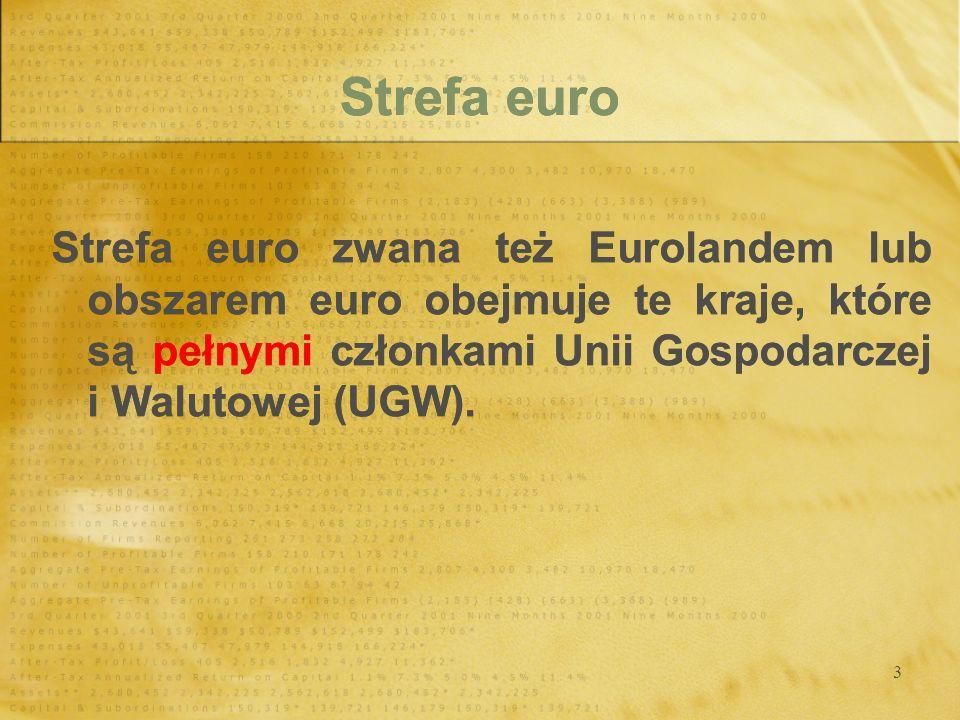 3 Strefa euro Strefa euro zwana też Eurolandem lub obszarem euro obejmuje te kraje, które są pełnymi członkami Unii Gospodarczej i Walutowej (UGW).