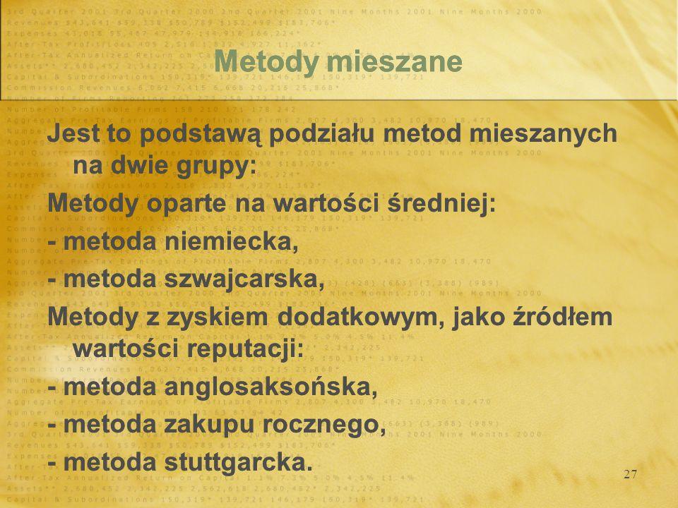27 Metody mieszane Jest to podstawą podziału metod mieszanych na dwie grupy: Metody oparte na wartości średniej: - metoda niemiecka, - metoda szwajcar