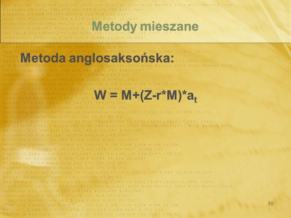 30 Metody mieszane Metoda anglosaksońska: W = M+(Z-r*M)*a t Metoda anglosaksońska: W = M+(Z-r*M)*a t