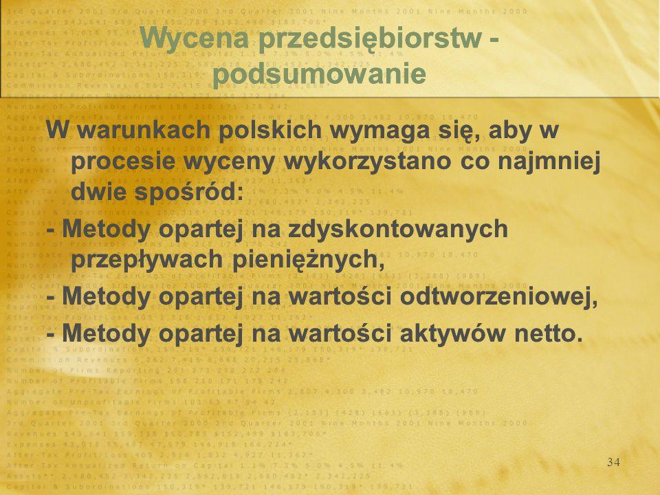 34 Wycena przedsiębiorstw - podsumowanie W warunkach polskich wymaga się, aby w procesie wyceny wykorzystano co najmniej dwie spośród: - Metody oparte