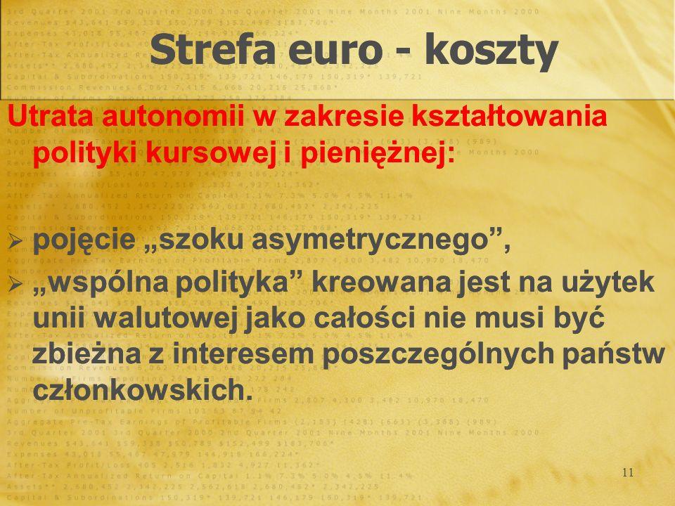 11 Strefa euro - koszty Utrata autonomii w zakresie kształtowania polityki kursowej i pieniężnej: pojęcie szoku asymetrycznego, wspólna polityka kreow