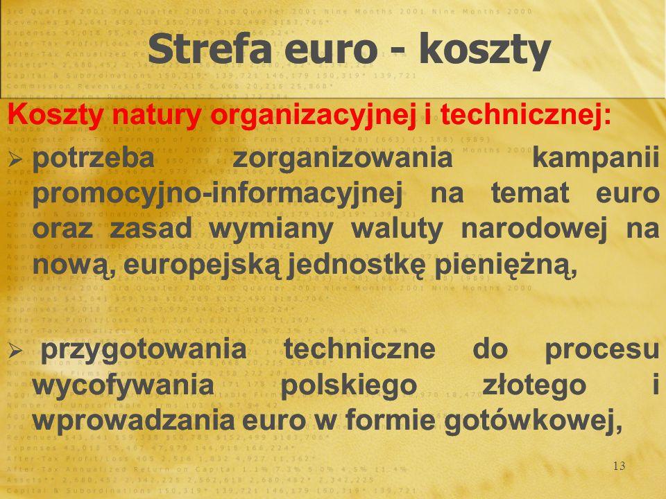 13 Strefa euro - koszty Koszty natury organizacyjnej i technicznej: potrzeba zorganizowania kampanii promocyjno-informacyjnej na temat euro oraz zasad