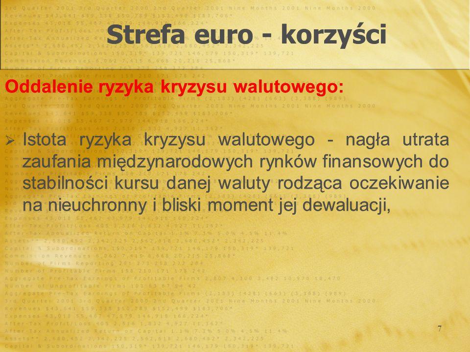 7 Oddalenie ryzyka kryzysu walutowego: Istota ryzyka kryzysu walutowego - nagła utrata zaufania międzynarodowych rynków finansowych do stabilności kur