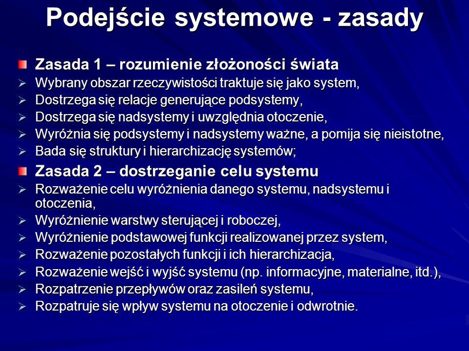 Podejście systemowe - zasady Zasada 1 – rozumienie złożoności świata Wybrany obszar rzeczywistości traktuje się jako system, Wybrany obszar rzeczywistości traktuje się jako system, Dostrzega się relacje generujące podsystemy, Dostrzega się relacje generujące podsystemy, Dostrzega się nadsystemy i uwzględnia otoczenie, Dostrzega się nadsystemy i uwzględnia otoczenie, Wyróżnia się podsystemy i nadsystemy ważne, a pomija się nieistotne, Wyróżnia się podsystemy i nadsystemy ważne, a pomija się nieistotne, Bada się struktury i hierarchizację systemów; Bada się struktury i hierarchizację systemów; Zasada 2 – dostrzeganie celu systemu Rozważenie celu wyróżnienia danego systemu, nadsystemu i otoczenia, Rozważenie celu wyróżnienia danego systemu, nadsystemu i otoczenia, Wyróżnienie warstwy sterującej i roboczej, Wyróżnienie warstwy sterującej i roboczej, Wyróżnienie podstawowej funkcji realizowanej przez system, Wyróżnienie podstawowej funkcji realizowanej przez system, Rozważenie pozostałych funkcji i ich hierarchizacja, Rozważenie pozostałych funkcji i ich hierarchizacja, Rozważenie wejść i wyjść systemu (np.