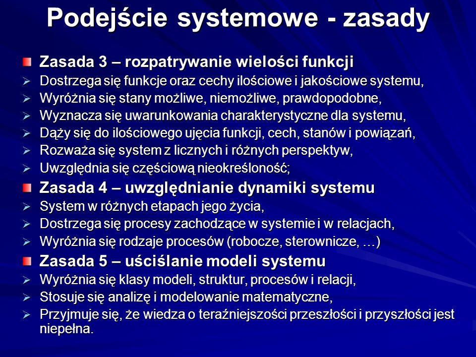 Podejście systemowe - zasady Zasada 3 – rozpatrywanie wielości funkcji Dostrzega się funkcje oraz cechy ilościowe i jakościowe systemu, Dostrzega się funkcje oraz cechy ilościowe i jakościowe systemu, Wyróżnia się stany możliwe, niemożliwe, prawdopodobne, Wyróżnia się stany możliwe, niemożliwe, prawdopodobne, Wyznacza się uwarunkowania charakterystyczne dla systemu, Wyznacza się uwarunkowania charakterystyczne dla systemu, Dąży się do ilościowego ujęcia funkcji, cech, stanów i powiązań, Dąży się do ilościowego ujęcia funkcji, cech, stanów i powiązań, Rozważa się system z licznych i różnych perspektyw, Rozważa się system z licznych i różnych perspektyw, Uwzględnia się częściową nieokreśloność; Uwzględnia się częściową nieokreśloność; Zasada 4 – uwzględnianie dynamiki systemu System w różnych etapach jego życia, System w różnych etapach jego życia, Dostrzega się procesy zachodzące w systemie i w relacjach, Dostrzega się procesy zachodzące w systemie i w relacjach, Wyróżnia się rodzaje procesów (robocze, sterownicze, …) Wyróżnia się rodzaje procesów (robocze, sterownicze, …) Zasada 5 – uściślanie modeli systemu Wyróżnia się klasy modeli, struktur, procesów i relacji, Wyróżnia się klasy modeli, struktur, procesów i relacji, Stosuje się analizę i modelowanie matematyczne, Stosuje się analizę i modelowanie matematyczne, Przyjmuje się, że wiedza o teraźniejszości przeszłości i przyszłości jest niepełna.