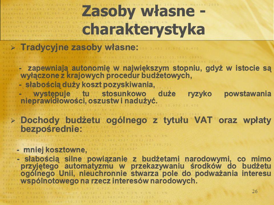 26 Tradycyjne zasoby własne: - zapewniają autonomię w największym stopniu, gdyż w istocie są wyłączone z krajowych procedur budżetowych, - słabością d