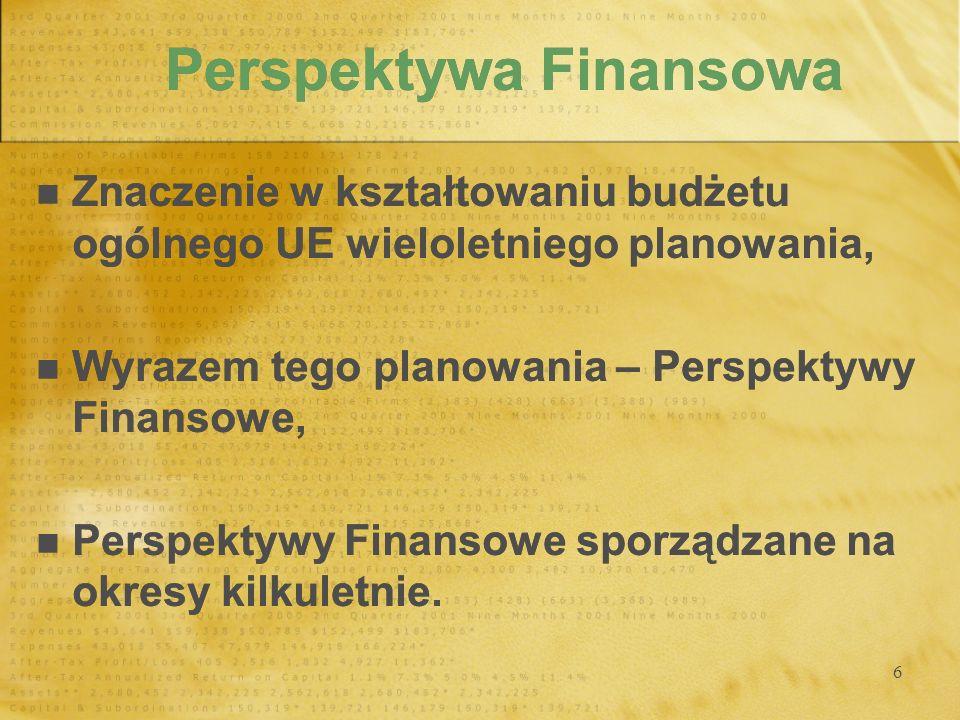6 Perspektywa Finansowa Znaczenie w kształtowaniu budżetu ogólnego UE wieloletniego planowania, Wyrazem tego planowania – Perspektywy Finansowe, Persp
