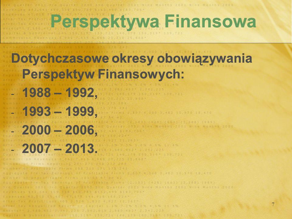 7 Perspektywa Finansowa Dotychczasowe okresy obowiązywania Perspektyw Finansowych: - 1988 – 1992, - 1993 – 1999, - 2000 – 2006, - 2007 – 2013. Dotychc