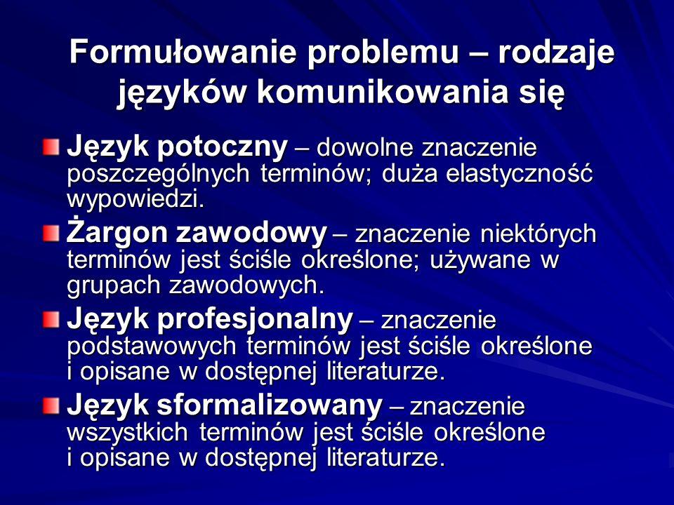 Formułowanie problemu – rodzaje języków komunikowania się Język potoczny – dowolne znaczenie poszczególnych terminów; duża elastyczność wypowiedzi. Ża