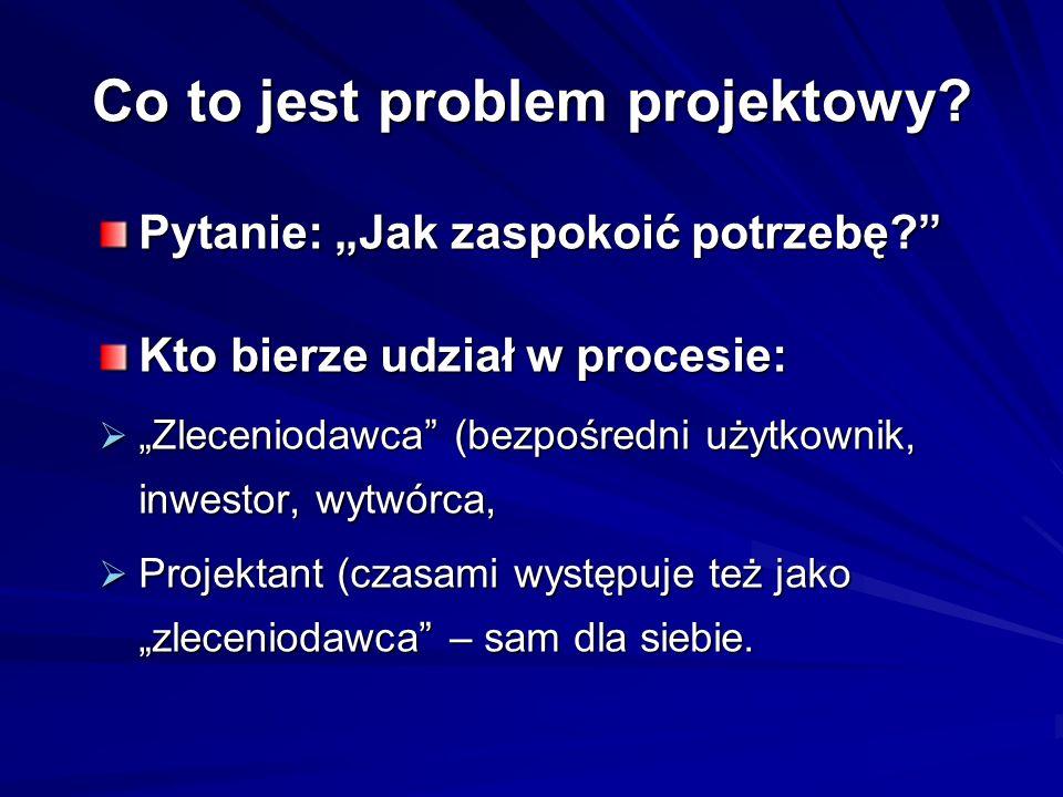 Co to jest problem projektowy? Pytanie: Jak zaspokoić potrzebę? Kto bierze udział w procesie: Zleceniodawca (bezpośredni użytkownik, inwestor, wytwórc