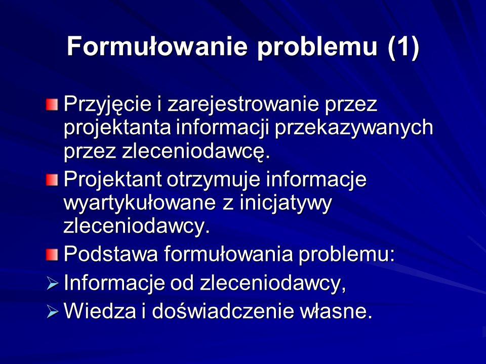 Formułowanie problemu (1) Przyjęcie i zarejestrowanie przez projektanta informacji przekazywanych przez zleceniodawcę. Projektant otrzymuje informacje