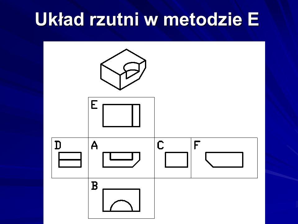 Układ rzutni w metodzie E (krawędzie niewidoczne)