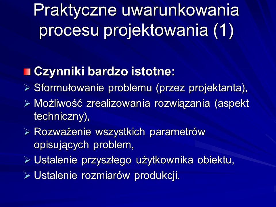 Praktyczne uwarunkowania procesu projektowania (1) Czynniki bardzo istotne: Sformułowanie problemu (przez projektanta), Sformułowanie problemu (przez projektanta), Możliwość zrealizowania rozwiązania (aspekt techniczny), Możliwość zrealizowania rozwiązania (aspekt techniczny), Rozważenie wszystkich parametrów opisujących problem, Rozważenie wszystkich parametrów opisujących problem, Ustalenie przyszłego użytkownika obiektu, Ustalenie przyszłego użytkownika obiektu, Ustalenie rozmiarów produkcji.