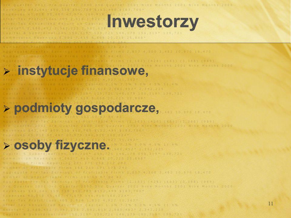 11 Inwestorzy instytucje finansowe, podmioty gospodarcze, osoby fizyczne. instytucje finansowe, podmioty gospodarcze, osoby fizyczne.