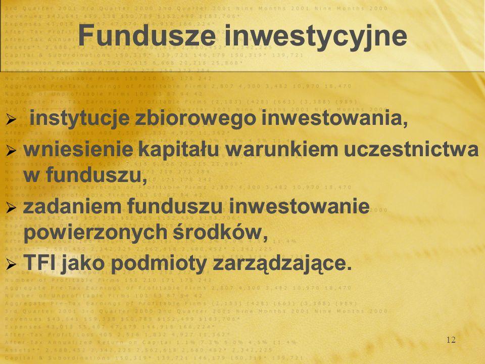 12 Fundusze inwestycyjne instytucje zbiorowego inwestowania, wniesienie kapitału warunkiem uczestnictwa w funduszu, zadaniem funduszu inwestowanie pow