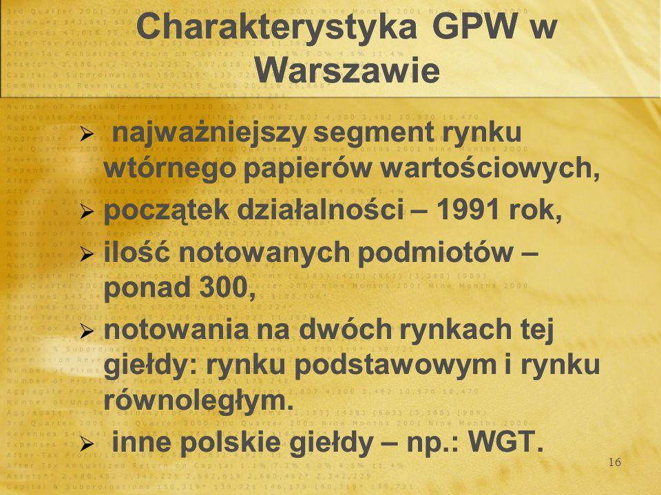 16 Charakterystyka GPW w Warszawie najważniejszy segment rynku wtórnego papierów wartościowych, początek działalności – 1991 rok, ilość notowanych pod