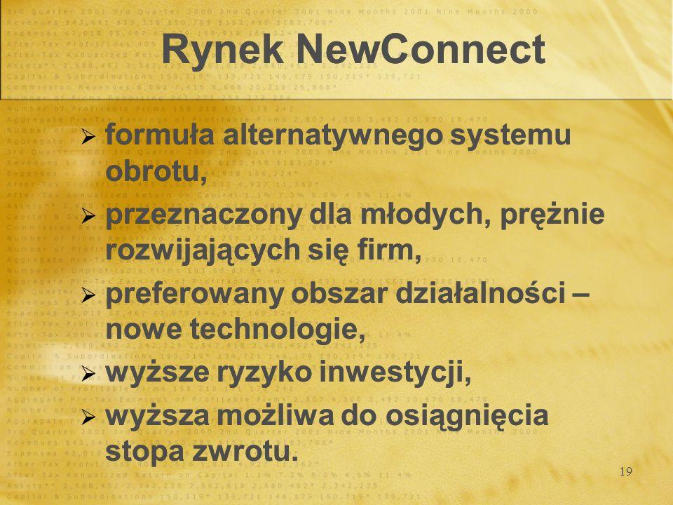 19 Rynek NewConnect formuła alternatywnego systemu obrotu, przeznaczony dla młodych, prężnie rozwijających się firm, preferowany obszar działalności –