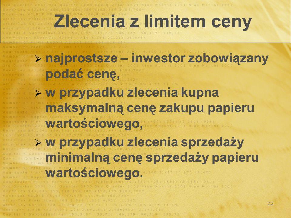 22 Zlecenia z limitem ceny najprostsze – inwestor zobowiązany podać cenę, w przypadku zlecenia kupna maksymalną cenę zakupu papieru wartościowego, w p