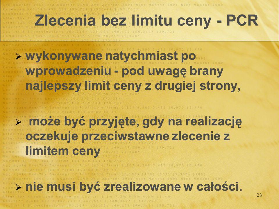 23 Zlecenia bez limitu ceny - PCR wykonywane natychmiast po wprowadzeniu - pod uwagę brany najlepszy limit ceny z drugiej strony, może być przyjęte, g