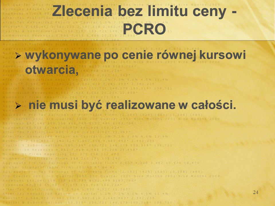 24 Zlecenia bez limitu ceny - PCRO wykonywane po cenie równej kursowi otwarcia, nie musi być realizowane w całości. wykonywane po cenie równej kursowi