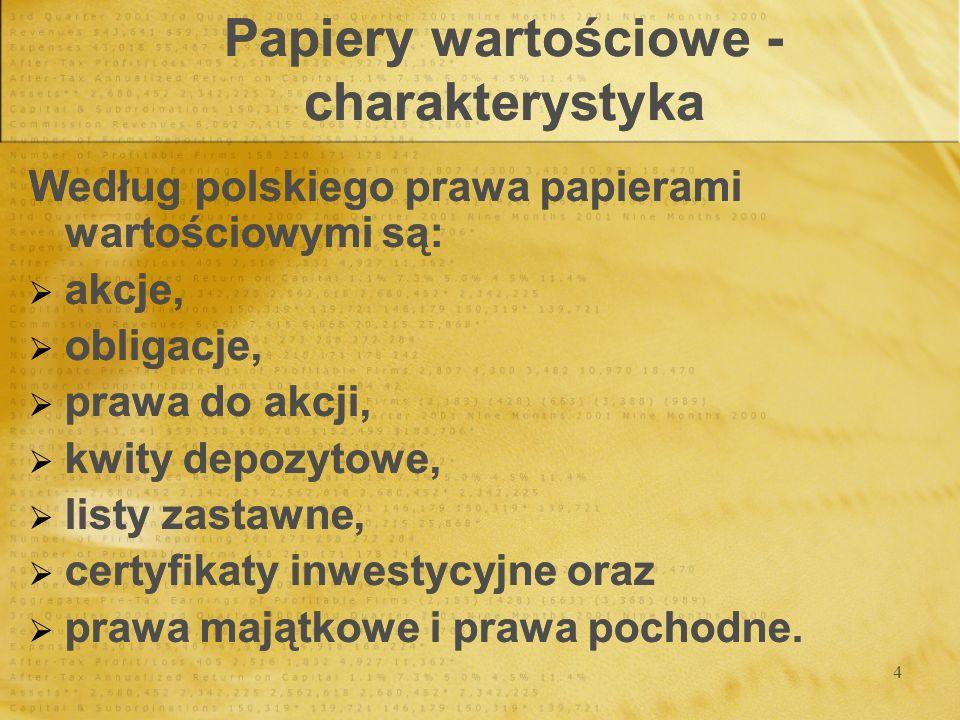 4 Papiery wartościowe - charakterystyka Według polskiego prawa papierami wartościowymi są: akcje, obligacje, prawa do akcji, kwity depozytowe, listy z