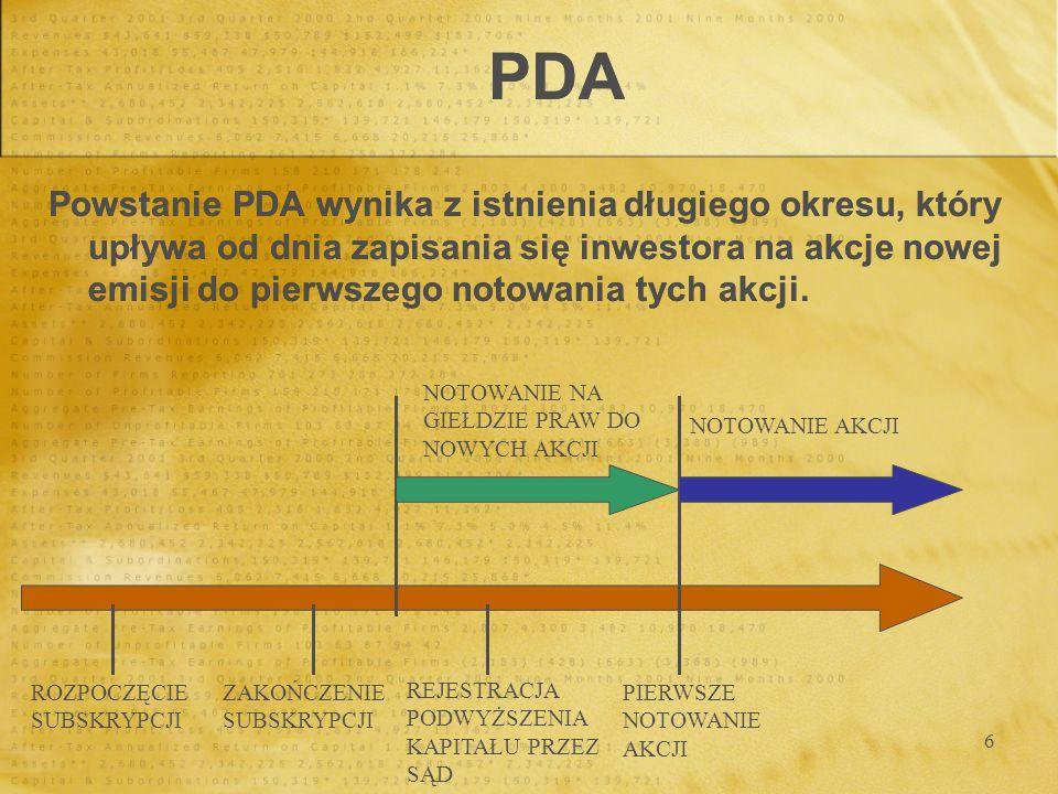 6 PDA Powstanie PDA wynika z istnienia długiego okresu, który upływa od dnia zapisania się inwestora na akcje nowej emisji do pierwszego notowania tyc