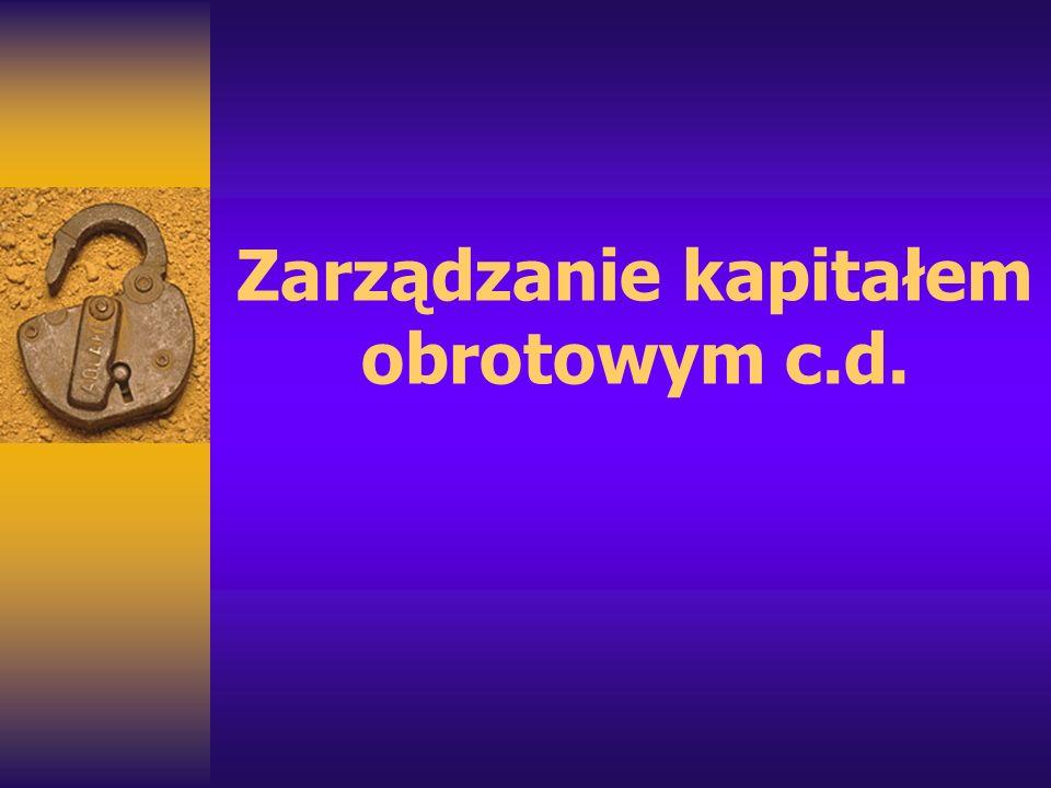 Zarządzanie kapitałem obrotowym c.d.