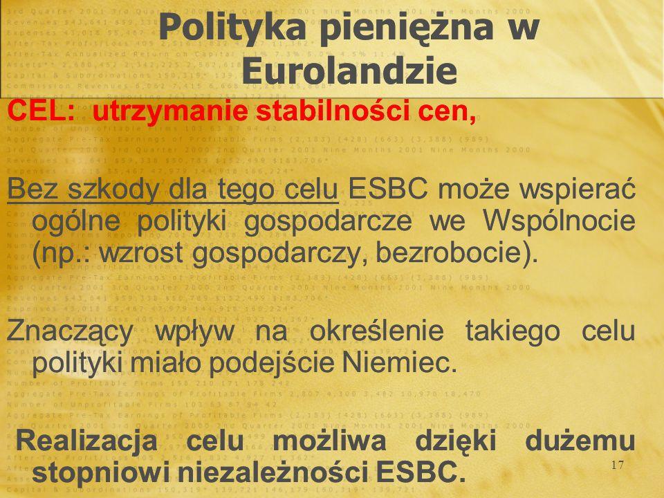 17 CEL: utrzymanie stabilności cen, Bez szkody dla tego celu ESBC może wspierać ogólne polityki gospodarcze we Wspólnocie (np.: wzrost gospodarczy, be