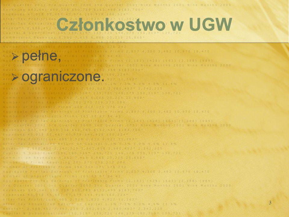 3 Członkostwo w UGW pełne, ograniczone. pełne, ograniczone.