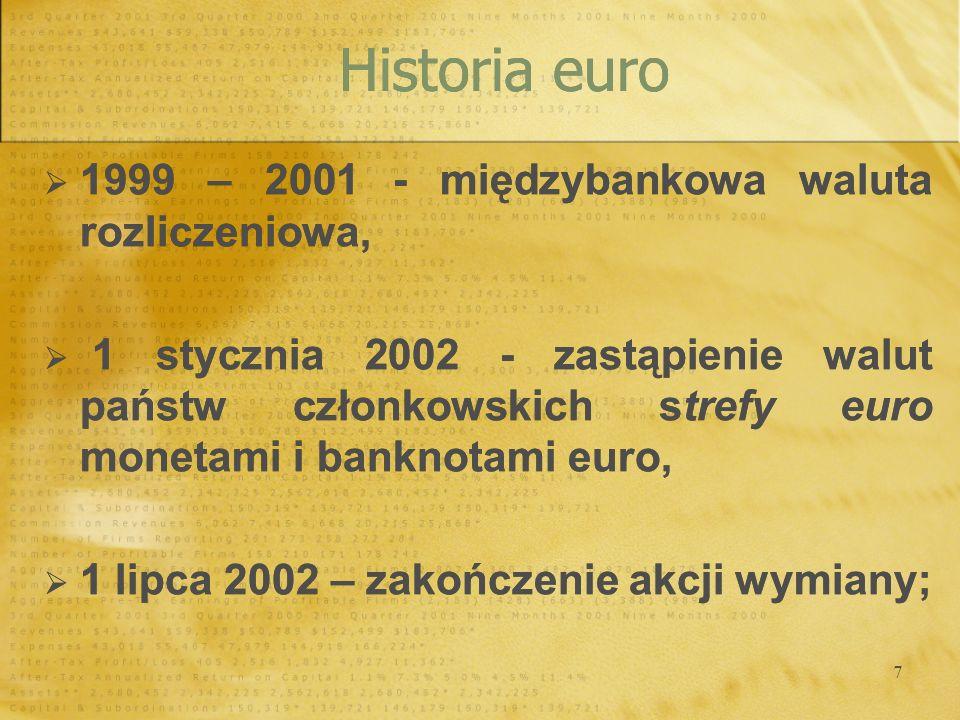 7 1999 – 2001 - międzybankowa waluta rozliczeniowa, 1 stycznia 2002 - zastąpienie walut państw członkowskich strefy euro monetami i banknotami euro, 1