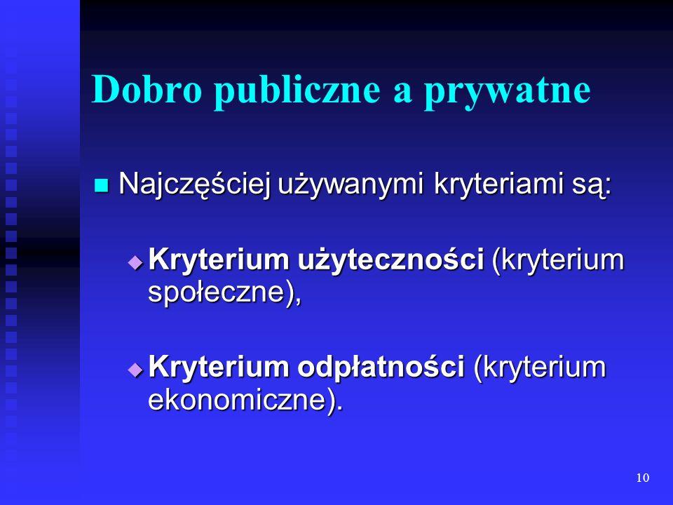 10 Dobro publiczne a prywatne Najczęściej używanymi kryteriami są: Najczęściej używanymi kryteriami są: Kryterium użyteczności (kryterium społeczne), Kryterium użyteczności (kryterium społeczne), Kryterium odpłatności (kryterium ekonomiczne).
