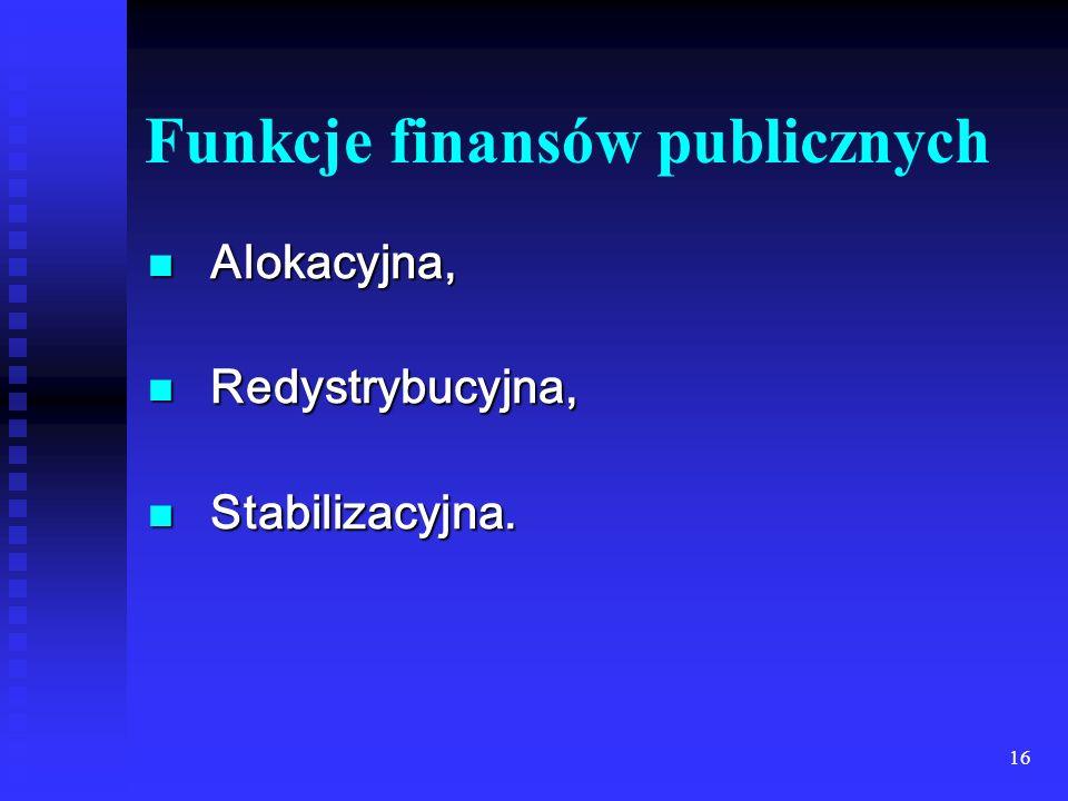 16 Funkcje finansów publicznych Alokacyjna, Alokacyjna, Redystrybucyjna, Redystrybucyjna, Stabilizacyjna.
