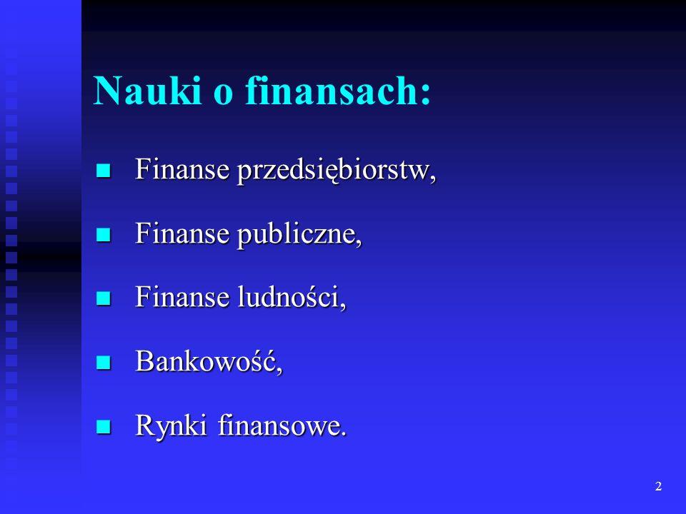 2 Nauki o finansach: Finanse przedsiębiorstw, Finanse przedsiębiorstw, Finanse publiczne, Finanse publiczne, Finanse ludności, Finanse ludności, Bankowość, Bankowość, Rynki finansowe.