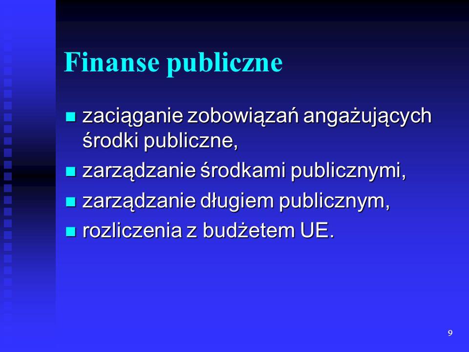 9 Finanse publiczne zaciąganie zobowiązań angażujących środki publiczne, zaciąganie zobowiązań angażujących środki publiczne, zarządzanie środkami publicznymi, zarządzanie środkami publicznymi, zarządzanie długiem publicznym, zarządzanie długiem publicznym, rozliczenia z budżetem UE.